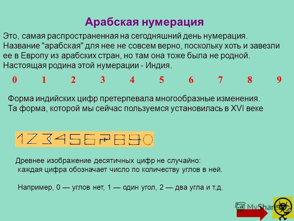 Арабская нумерация Это, самая распространенная на сегодняшний день нумерация. Название