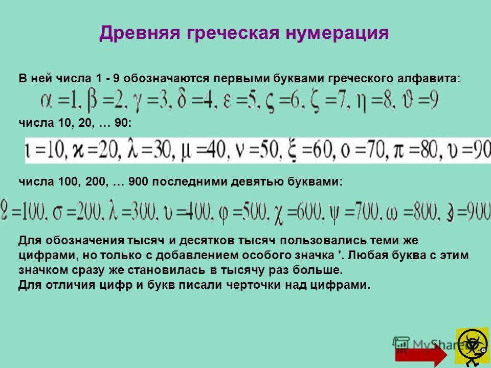 Древняя греческая нумерация В ней числа 1 - 9 обозначаются первыми буквами греческого алфавита: числа 10, 20, … 90: числа 100, 200, … 900 последними девятью буквами: Для обозначения тысяч и десятков тысяч пользовались теми же цифрами, но только с доб