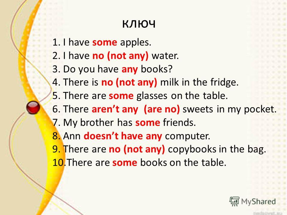 ключ 1. I have some apples. 2. I have no (not any) water. 3. Do you have any books? 4. There is no (not any) milk in the fridge. 5. There are some glasses on the table. 6. There arent any (are no) sweets in my pocket. 7. My brother has some friends.