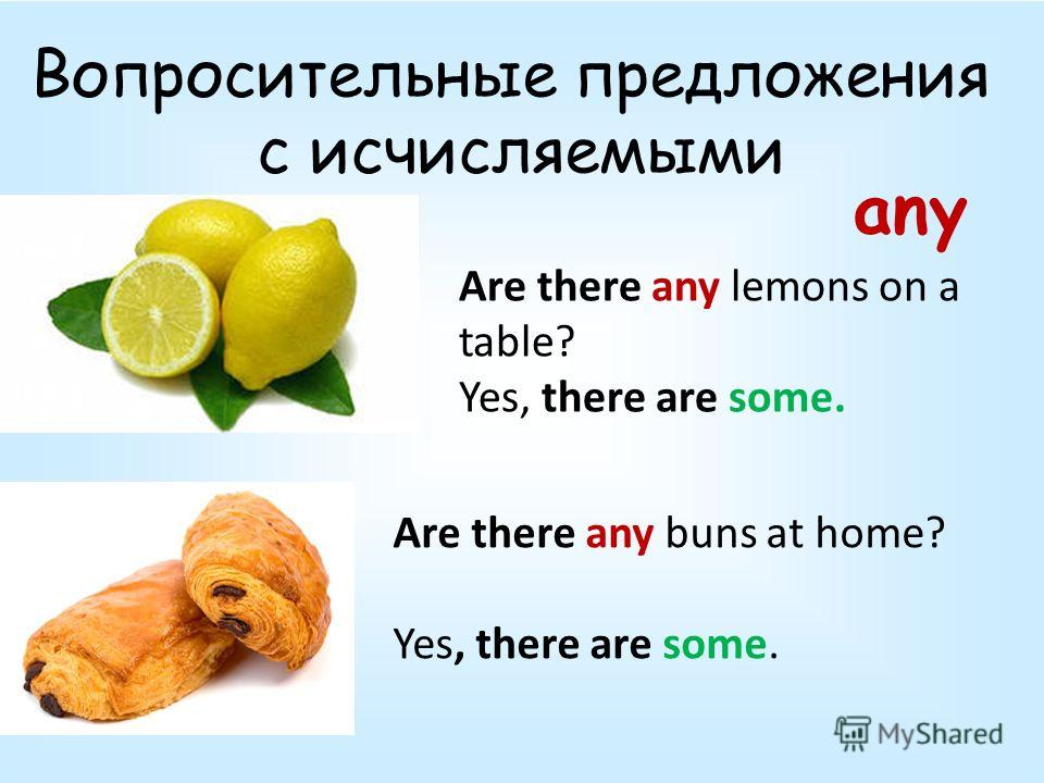 Вопросительные предложения с исчисляемыми Are there any lemons on a table? Yes, there are some. Are there any buns at home? Yes, there are some. any