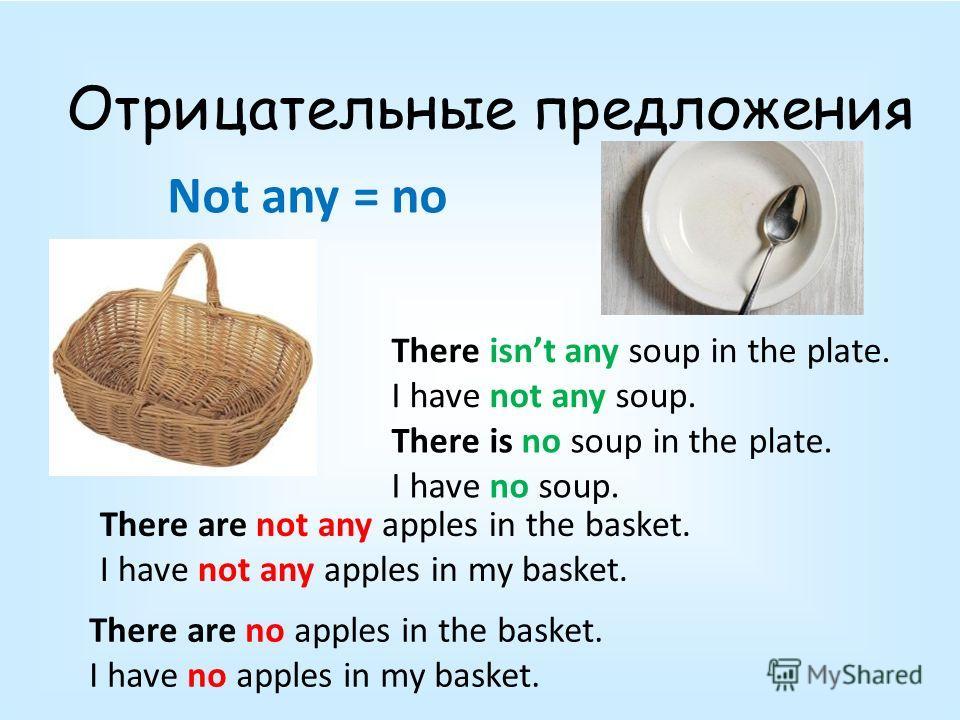 Отрицательные предложения There are not any apples in the basket. I have not any apples in my basket. There are no apples in the basket. I have no apples in my basket. There isnt any soup in the plate. I have not any soup. There is no soup in the pla