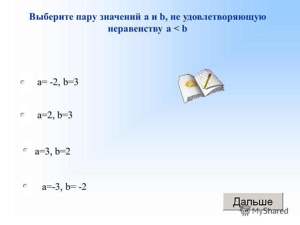 a=3, b=2 a=2, b=3 a=-3, b= -2 a= -2, b=3 Выберите пару значений а и b, не удовлетворяющую неравенству а < b