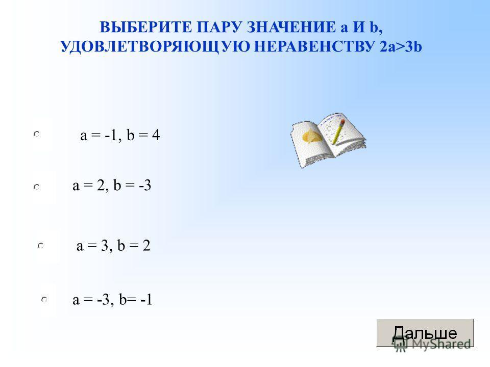 ВЫБЕРИТЕ ПАРУ ЗНАЧЕНИЕ а И b, УДОВЛЕТВОРЯЮЩУЮ НЕРАВЕНСТВУ 2 а>3b а = -1, b = 4 а = 2, b = -3 a = 3, b = 2 а = -3, b= -1