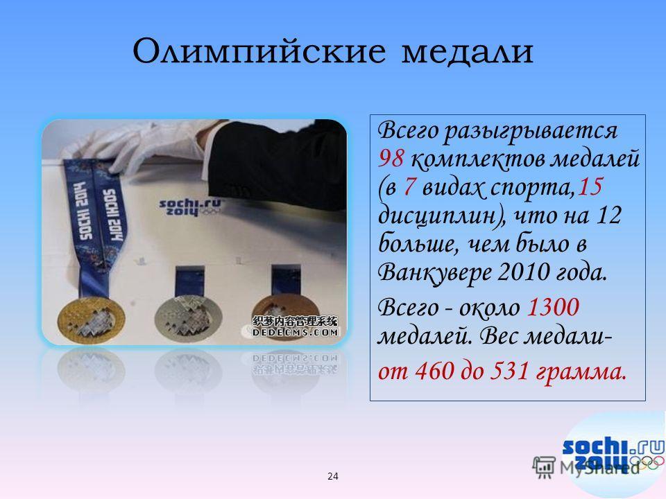 Олимпийские медали Всего разыгрывается 98 комплектов медалей (в 7 видах спорта,15 дисциплин), что на 12 больше, чем было в Ванкувере 2010 года. Всего - около 1300 медалей. Вес медали- от 460 до 531 грамма. 24