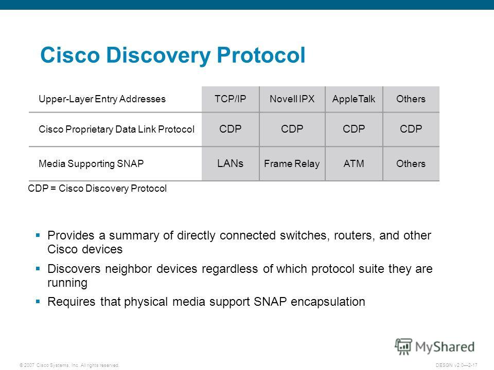 © 2007 Cisco Systems, Inc. All rights reserved.DESGN v2.02-17 Cisco Discovery Protocol Provides a summary of directly connected switches, routers, and other Cisco devices Discovers neighbor devices regardless of which protocol suite they are running