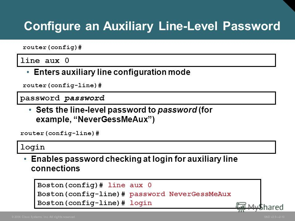 © 2006 Cisco Systems, Inc. All rights reserved. SND v2.02-10 Configure an Auxiliary Line-Level Password Boston(config)# line aux 0 Boston(config-line)# password NeverGessMeAux Boston(config-line)# login router(config)# line aux 0 Enters auxiliary lin