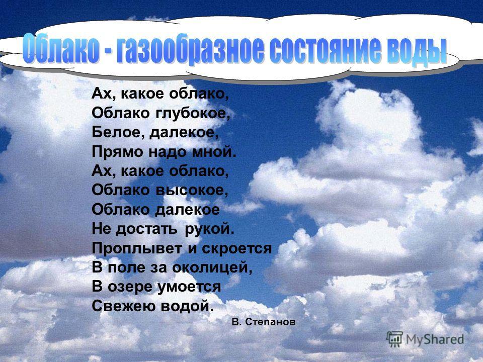 Ах, какое облако, Облако глубокое, Белое, далекое, Прямо надо мной. Ах, какое облако, Облако высокое, Облако далекое Не достать рукой. Проплывет и скроется В поле за околицей, В озере умоется Свежею водой. В. Степанов
