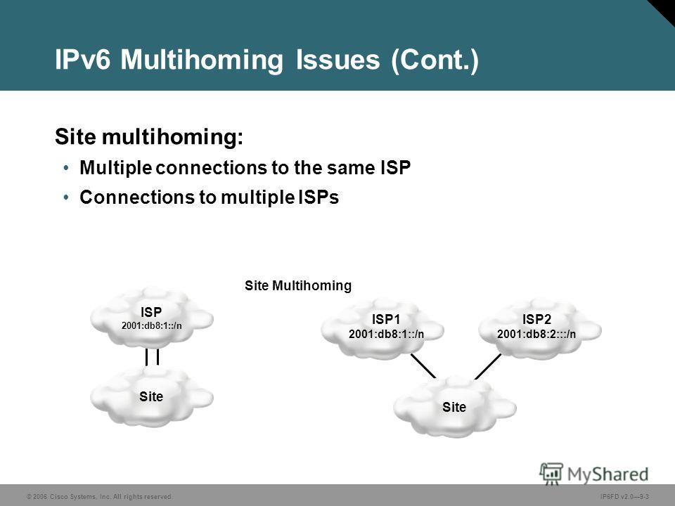 © 2006 Cisco Systems, Inc. All rights reserved.IP6FD v2.09-3 IPv6 Multihoming Issues (Cont.) Site multihoming: Multiple connections to the same ISP Connections to multiple ISPs ISP 2001:db8:1::/n ISP1 2001:db8:1::/n Site Multihoming Site ISP2 2001:db