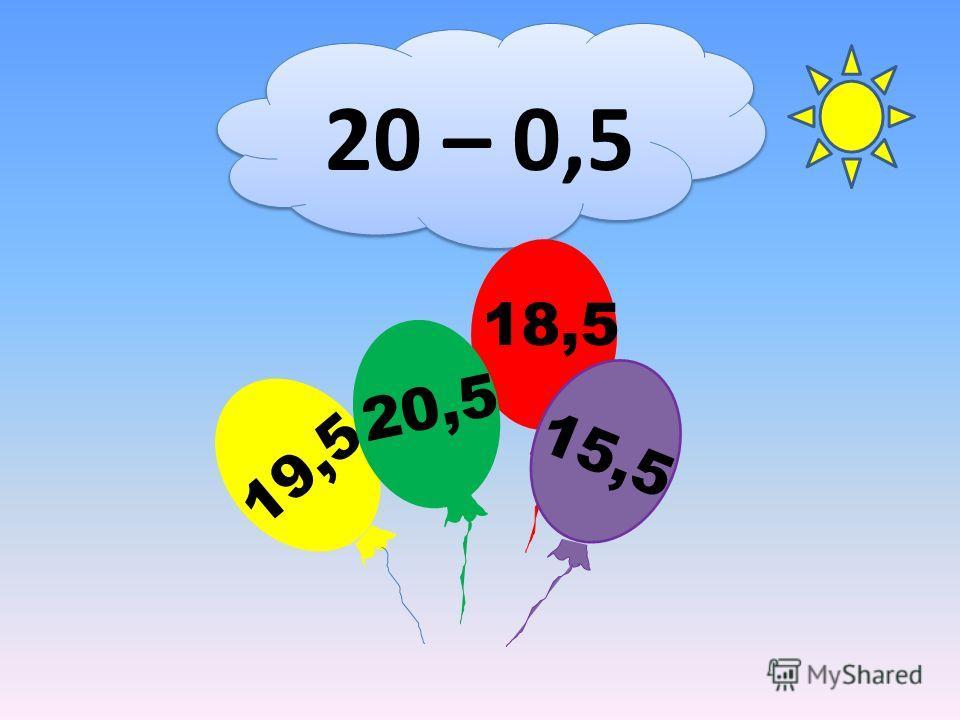 20 – 0,5 18,5 19,5 20,5 15,5