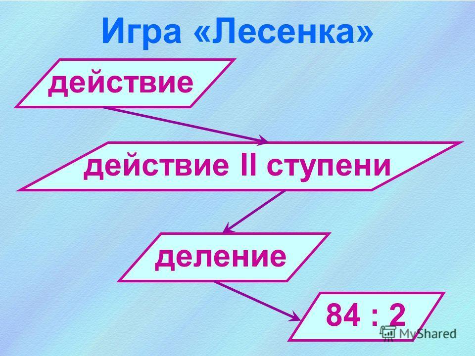 действие Игра «Лесенка» действие II ступени деление 84 : 2