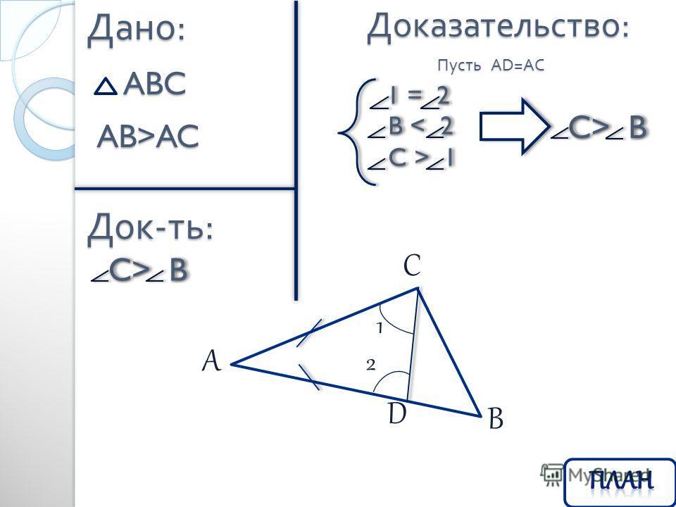 Доказательство : Дано : ABC Док - ть : AB>AC C> B C> B Пусть AD=AC C > 1 C > 1 B < 2 B < 2 1 = 2 1 = 2 C> B C> B A C B D 2 1