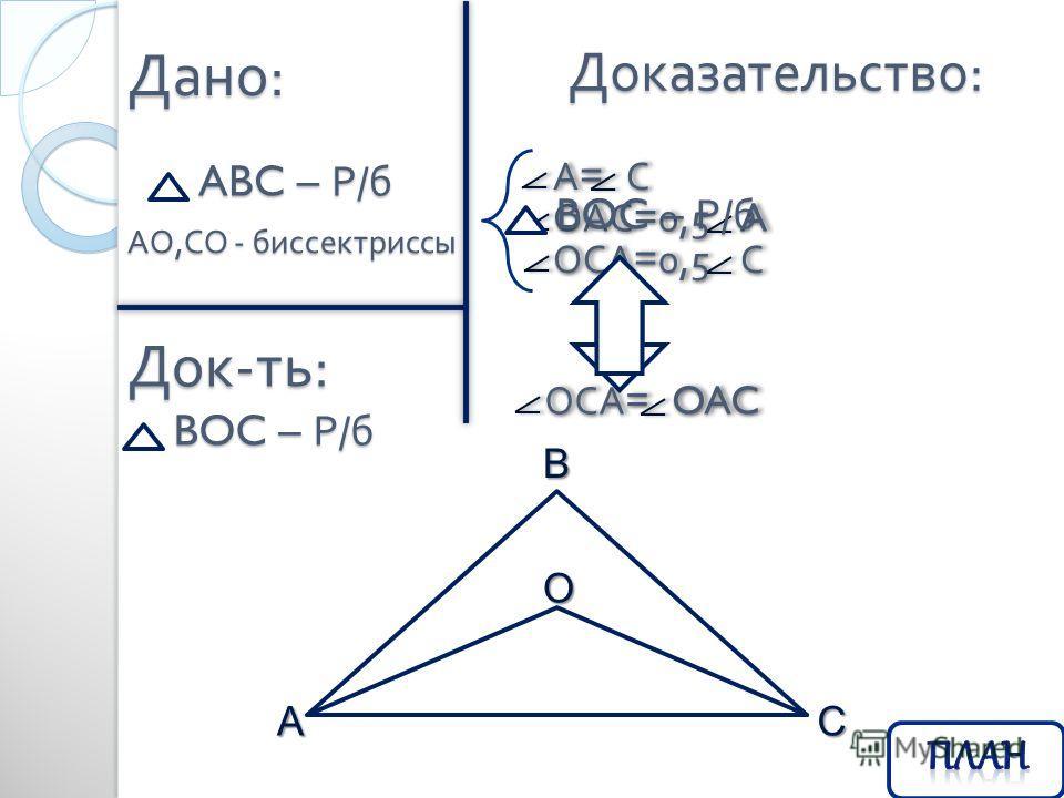 Дано : ABC – Р / б Док - ть : Доказательство : АО, СО - биссектриссы BOC – Р / б BAC O А = С А = С ОАС =0,5 A ОАС =0,5 A ОСА =0,5 С ОСА =0,5 С ОСА = OAC ОСА = OAC BOC – Р / б