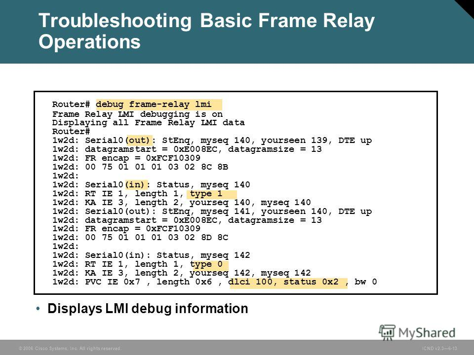 © 2006 Cisco Systems, Inc. All rights reserved. ICND v2.36-13 Displays LMI debug information Router# debug frame-relay lmi Frame Relay LMI debugging is on Displaying all Frame Relay LMI data Router# 1w2d: Serial0(out): StEnq, myseq 140, yourseen 139,