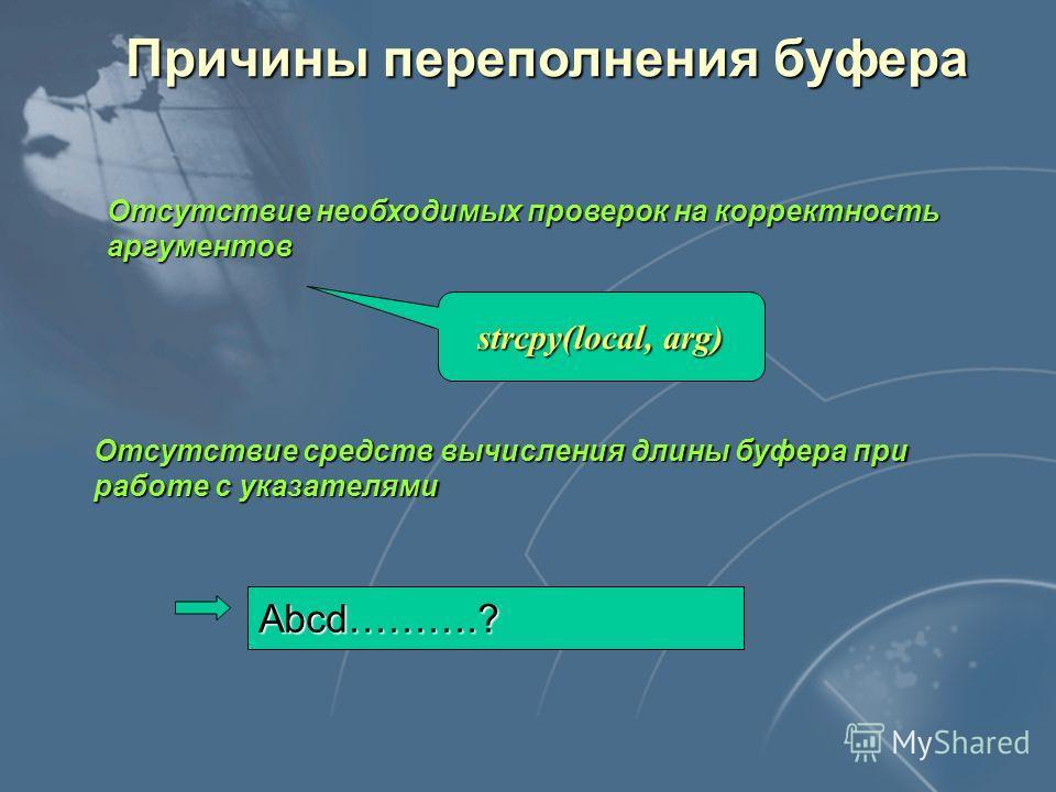 Причины переполнения буфера Отсутствие необходимых проверок на корректность аргументов Отсутствие средств вычисления длины буфера при работе с указателями strcpy(local, arg) Abcd……….?