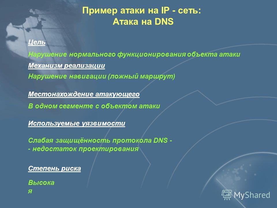 Применение транспортного протокола без установления соединения (UDP) Отсутствие идентификации и аутентификации Отсутствие средств разграничения доступа Уязвимости службы DNS