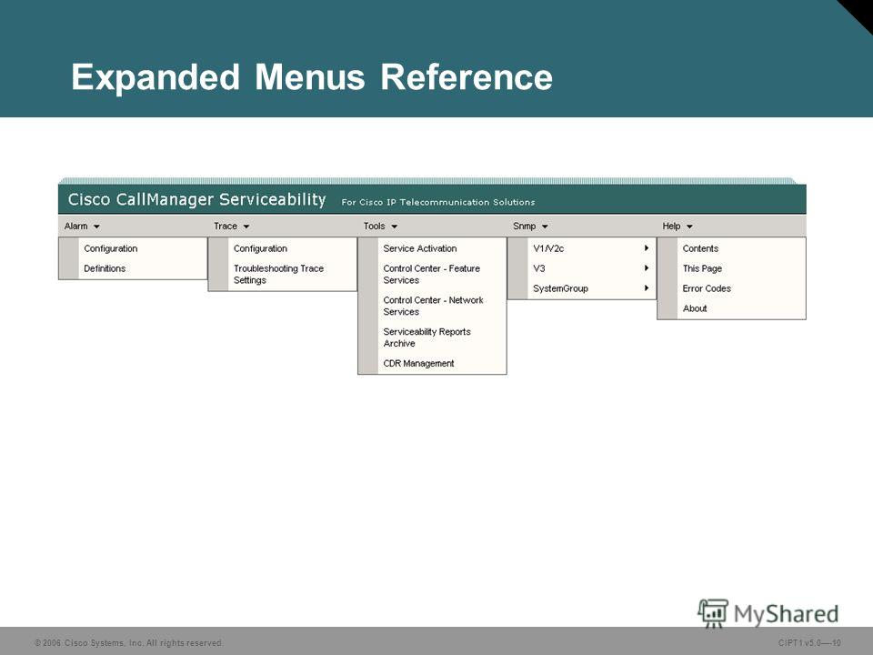 © 2006 Cisco Systems, Inc. All rights reserved. CIPT1 v5.0-10 Expanded Menus Reference