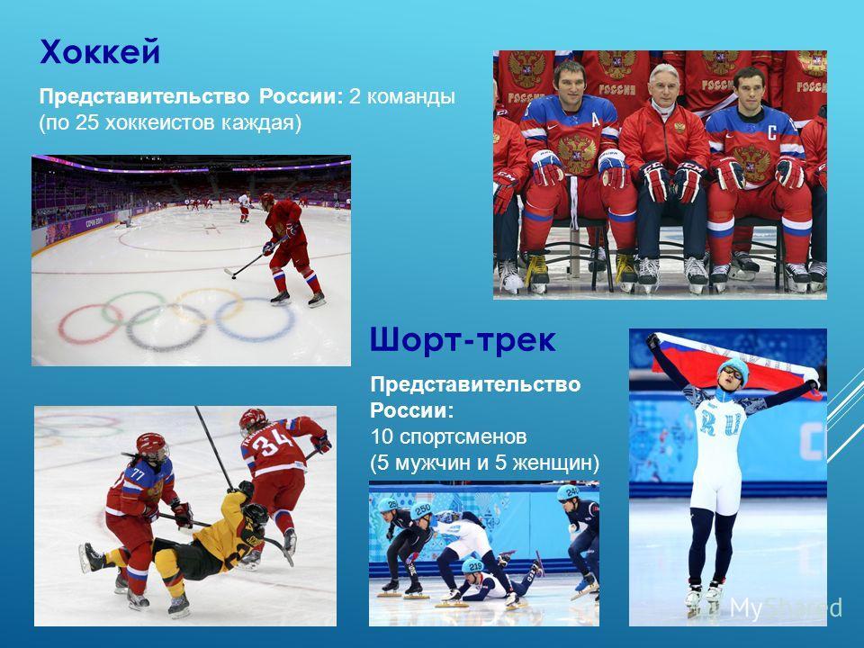 Хоккей Представительство России: 2 команды (по 25 хоккеистов каждая) Шорт-трек Представительство России: 10 спортсменов (5 мужчин и 5 женщин)
