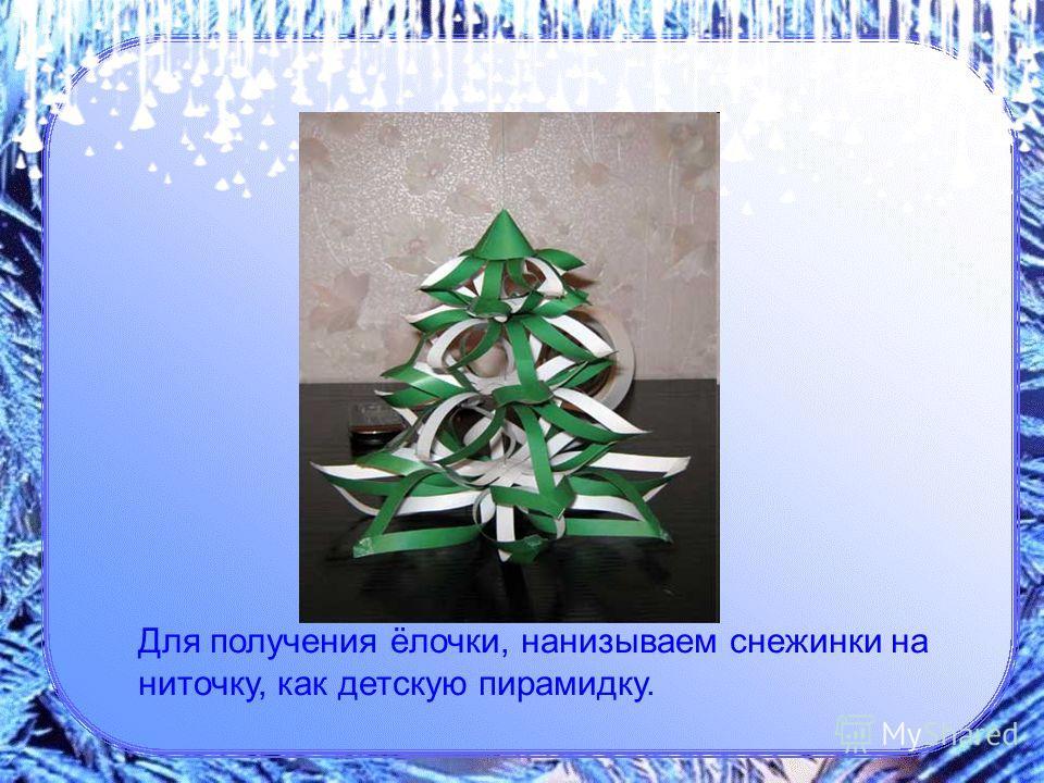 Для получения ёлочки, нанизываем снежинки на ниточку, как детскую пирамидку.