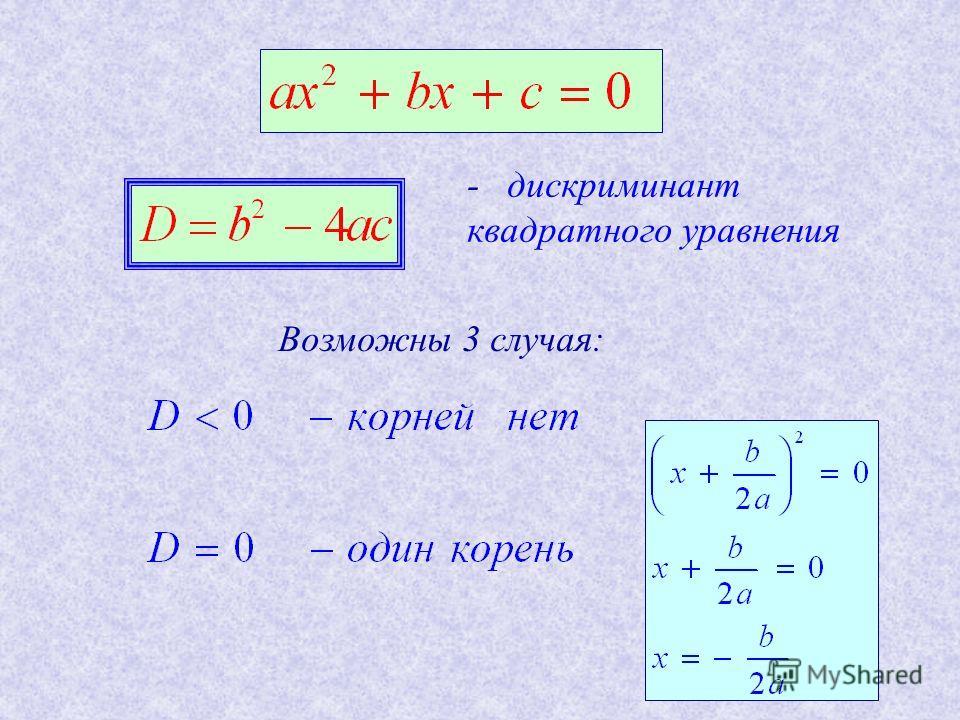 - дискриминант квадратного уравнения Возможны 3 случая: