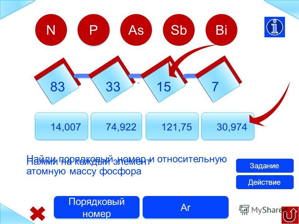 833315 7 14,007 74,922121,7530,974 N Найди порядковый номер и относительную атомную массу азота Задание Ar Порядковый номер P P AsSbBi Действие Нажми на каждый элемент
