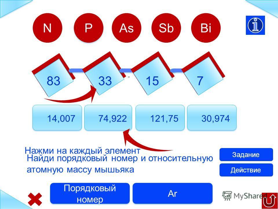 8333 15 7 14,00774,922121,75 30,974 N Найди порядковый номер и относительную атомную массу фосфора Задание Ar Порядковый номер P P AsSbBi Действие