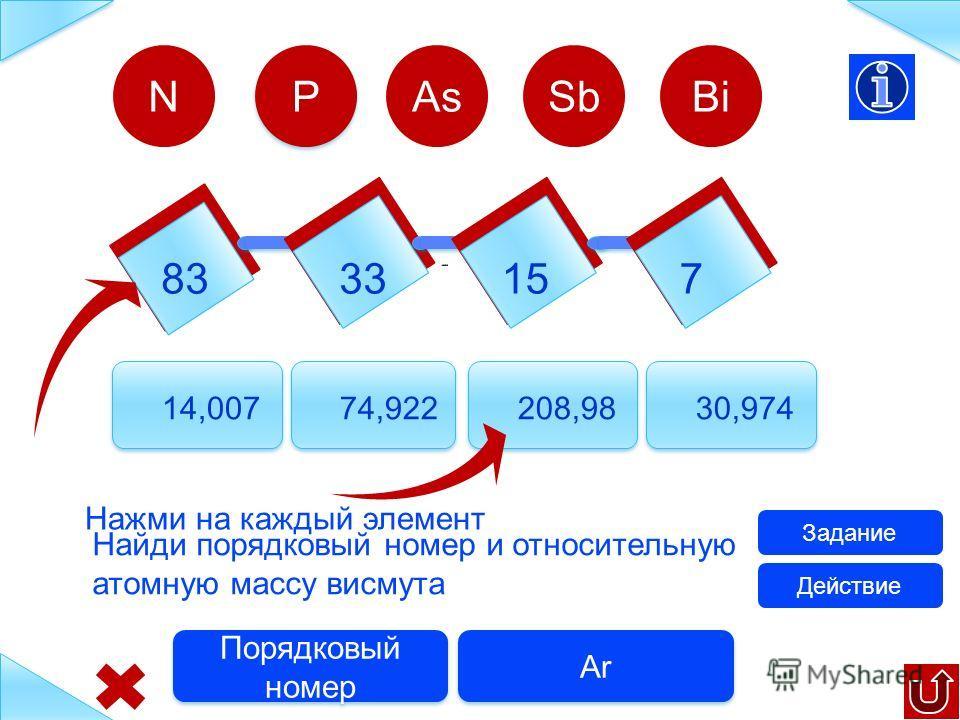 83 33 157 14,007 74,922 121,7530,974 N Найди порядковый номер и относительную атомную массу мышьяка Задание Ar Порядковый номер P P AsSbBi Действие Нажми на каждый элемент