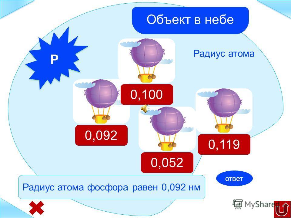 N N Радиус атома 0,092 0,052 0,100 0,119 Радиус атома азота равен 0,052 нм Объект в небе ответ
