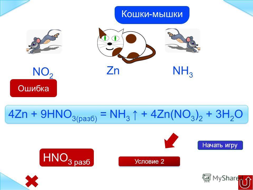 Zn Начать игру NH 3 NO 2 Условие 1 Zn + 4HNO 3(конц) = 2NO 2 + 2H 2 O + Zn(NO 3 ) 2 Кошки-мышки HNO 3 конц Ошибка