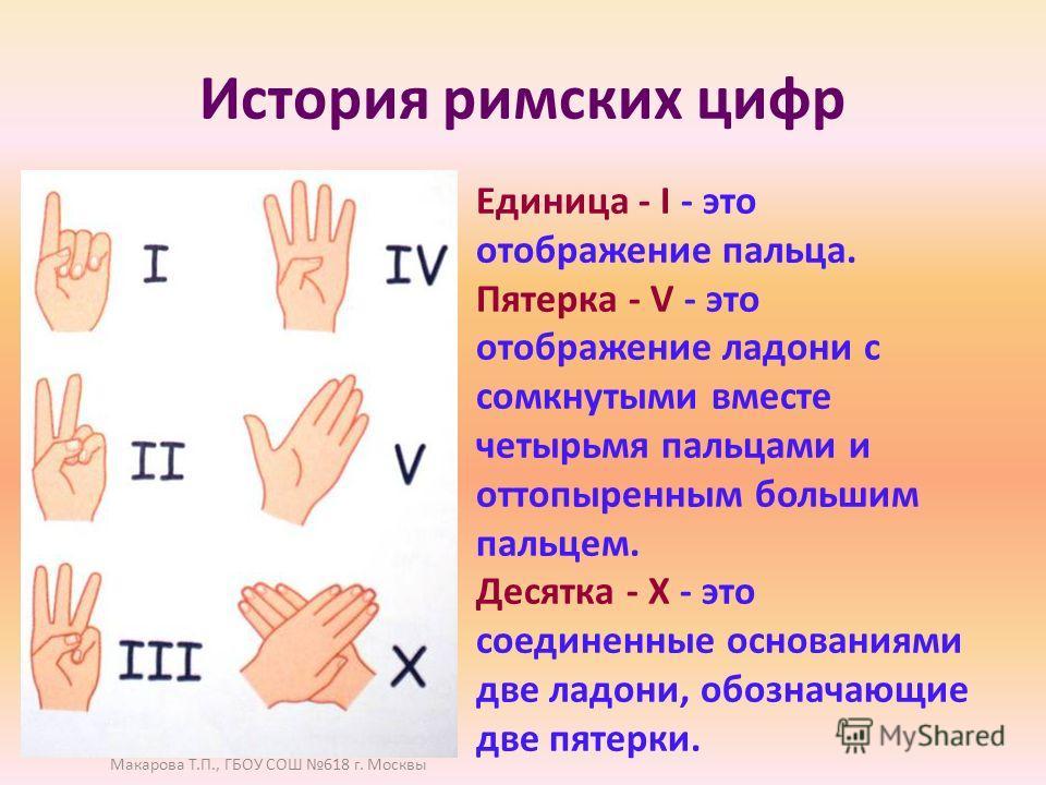 История римских цифр Единица - I - это отображение пальца. Пятерка - V - это отображение ладони с сомкнутыми вместе четырьмя пальцами и оттопыренным большим пальцем. Десятка - Х - это соединенные основаниями две ладони, обозначающие две пятерки. Мака