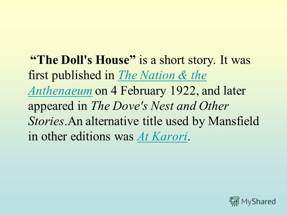 the characterization of kezia in katherine mansfields the dolls house The doll's house by katherine mansfield  and the gold frames of this richly decorated house, kezia, the youngest of the girls, takes an interest in the rather .