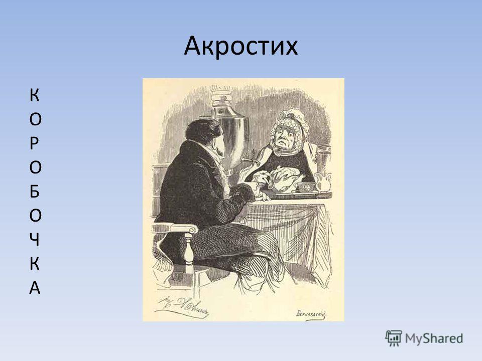 Акростих КОРОБОЧКАКОРОБОЧКА