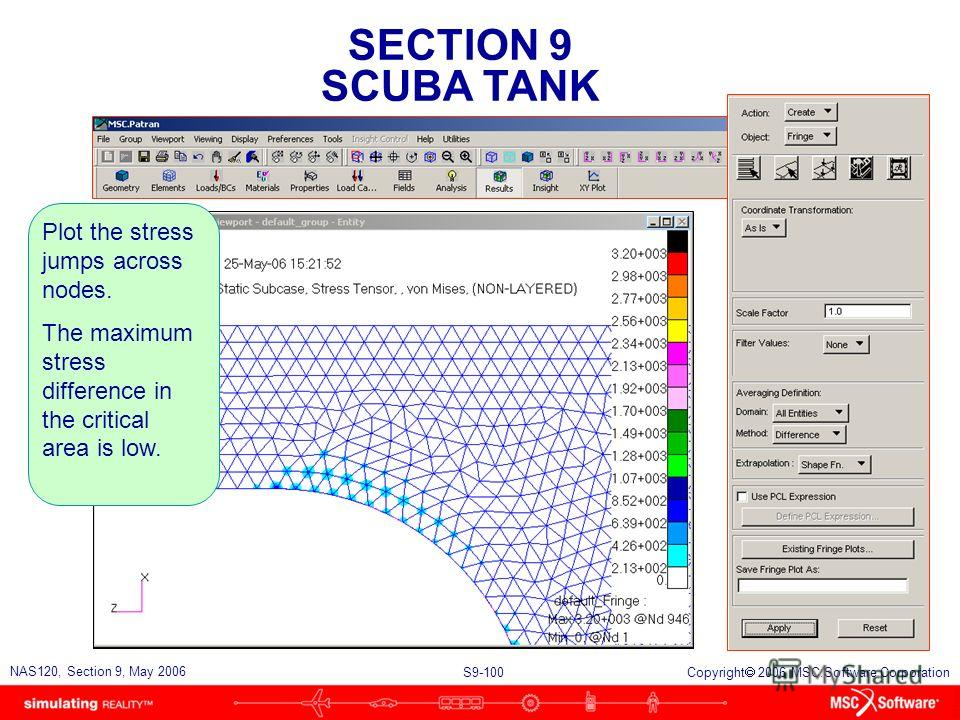 SECTION 9 SCUBA TANK S9-100 NAS120, Section 9, May 2006 Copyright 2006 MSC.Software Corporation Plot the stress jumps across nodes. The maximum stress difference in the critical area is low.