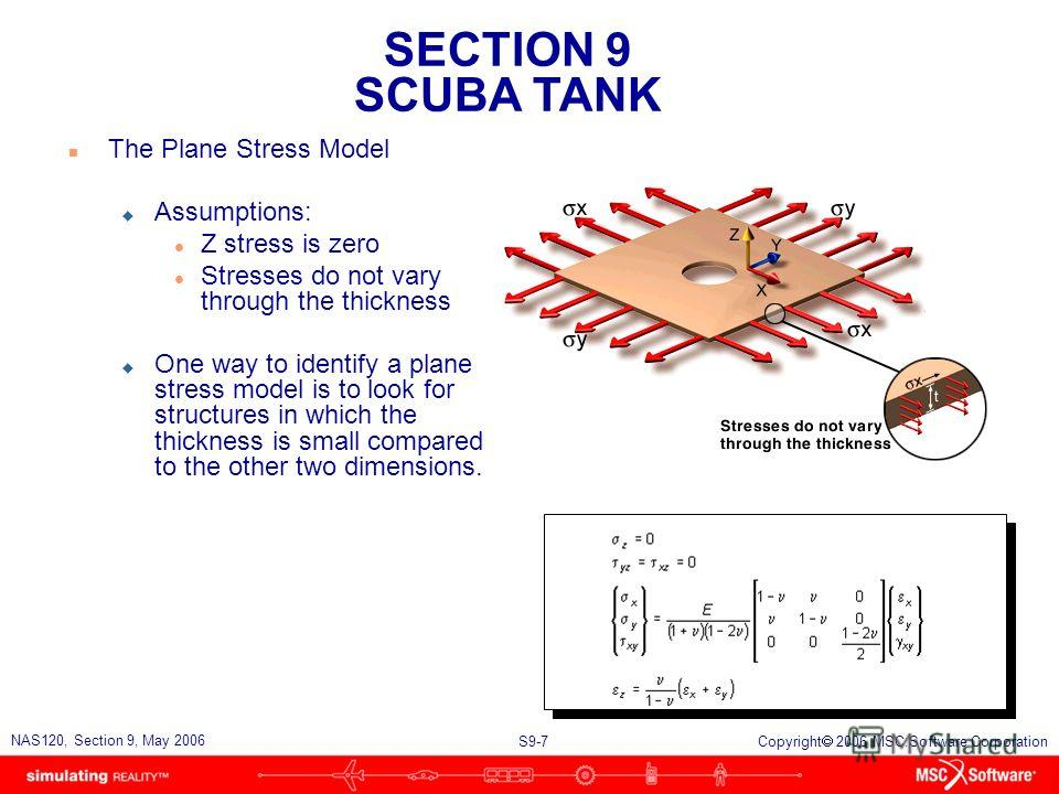 SECTION 9 SCUBA TANK S9-7 NAS120, Section 9, May 2006 Copyright 2006 MSC.Software Corporation n The Plane Stress Model u Assumptions: l Z stress is zero l Stresses do not vary through the thickness u One way to identify a plane stress model is to loo