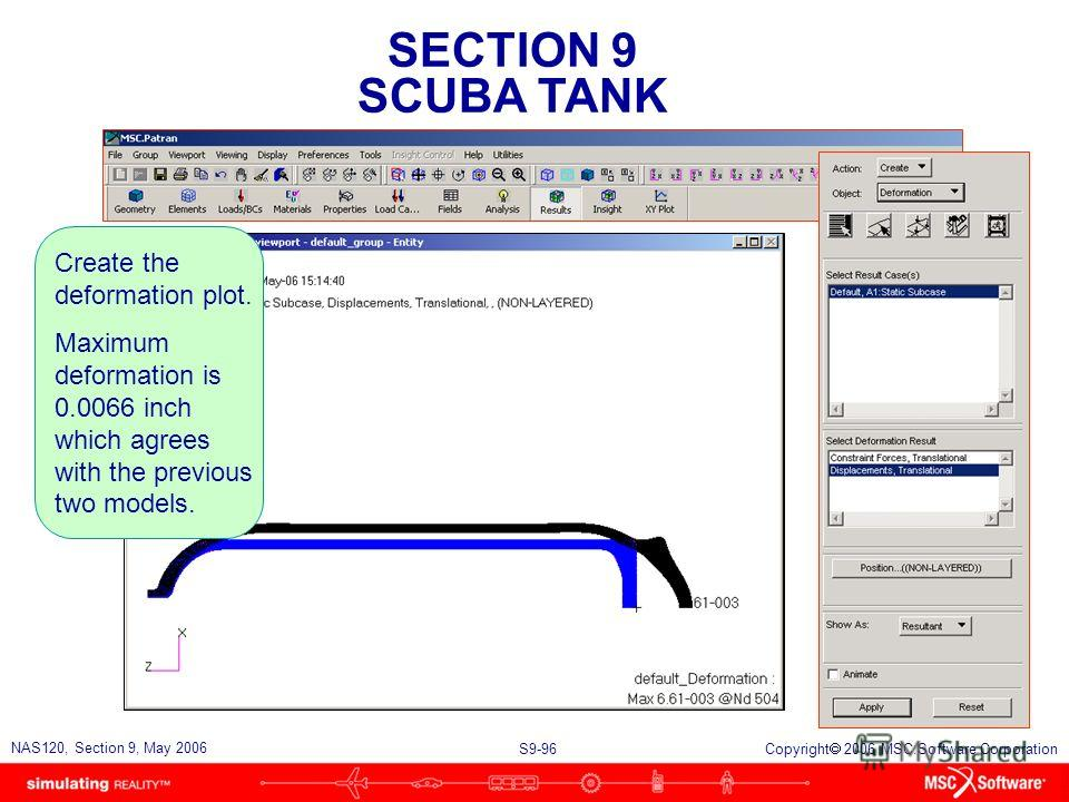 SECTION 9 SCUBA TANK S9-96 NAS120, Section 9, May 2006 Copyright 2006 MSC.Software Corporation Create the deformation plot. Maximum deformation is 0.0066 inch which agrees with the previous two models.