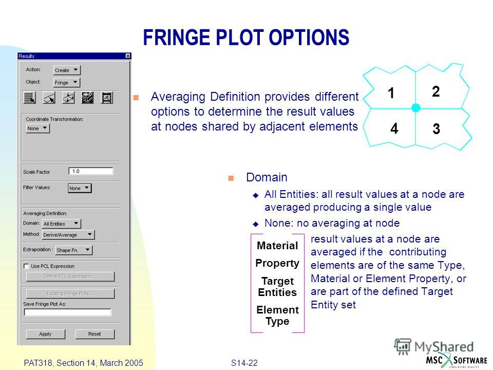 S14-22 PAT318, Section 14, March 2005 FRINGE PLOT OPTIONS Averaging Definition provides different options to determine the result values at nodes shared by adjacent elements Domain All Entities: all result values at a node are averaged producing a si