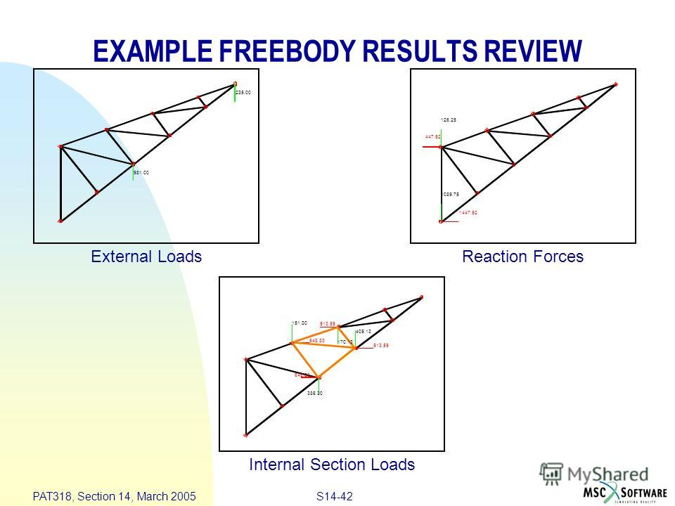 S14-42 PAT318, Section 14, March 2005 EXAMPLE FREEBODY RESULTS REVIEW External Loads Internal Section Loads Reaction Forces 981.00 235.00 1089.75 447.52 126.25 1447.52 513.59 648.83 151.30 386.30 405.13 170.13 648.83