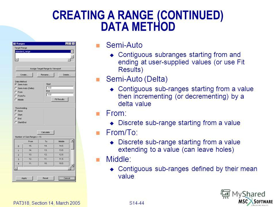 S14-44 PAT318, Section 14, March 2005 CREATING A RANGE (CONTINUED) DATA METHOD Semi-Auto Contiguous subranges starting from and ending at user-supplied values (or use Fit Results) Semi-Auto (Delta) Contiguous sub-ranges starting from a value then inc