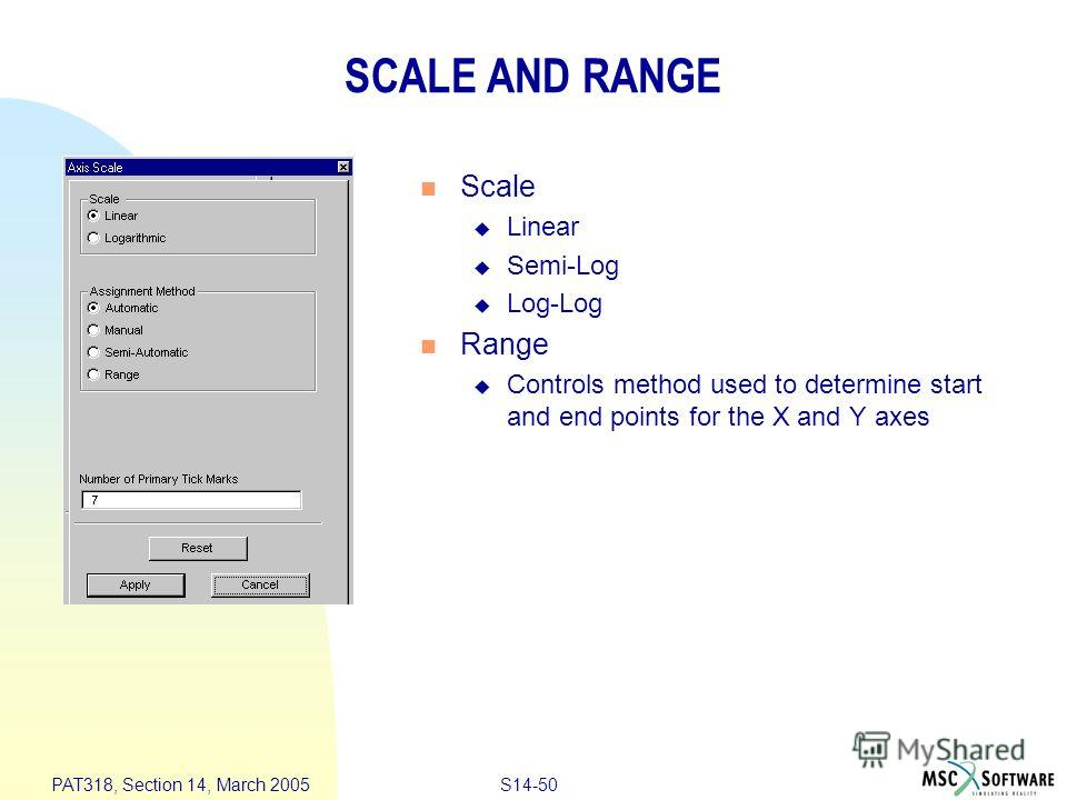 S14-50 PAT318, Section 14, March 2005 SCALE AND RANGE Scale Linear Semi-Log Log-Log Range Controls method used to determine start and end points for the X and Y axes