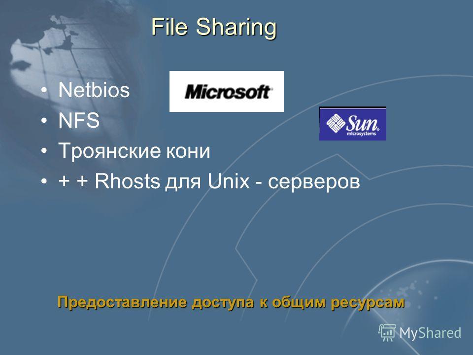 Слайд 76 File Sharing Netbios NFS Троянские кони + + Rhosts для Unix - серверов Предоставление доступа к общим ресурсам