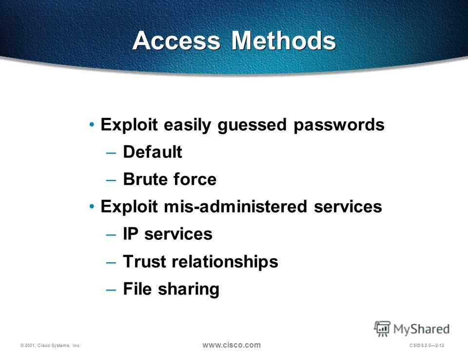 © 2001, Cisco Systems, Inc. www.cisco.com CSIDS 2.02-12 Access Methods Exploit easily guessed passwords – Default – Brute force Exploit mis-administered services – IP services – Trust relationships – File sharing