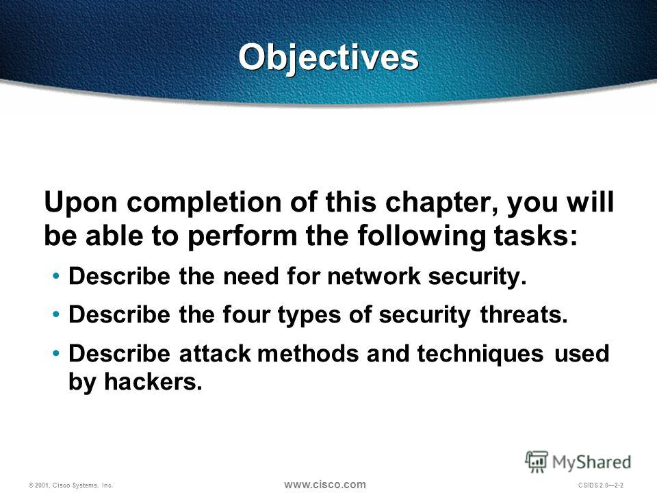 © 2001, Cisco Systems, Inc. www.cisco.com CSIDS 2.02-2 Objectives Upon completion of this chapter, you will be able to perform the following tasks: Describe the need for network security. Describe the four types of security threats. Describe attack m