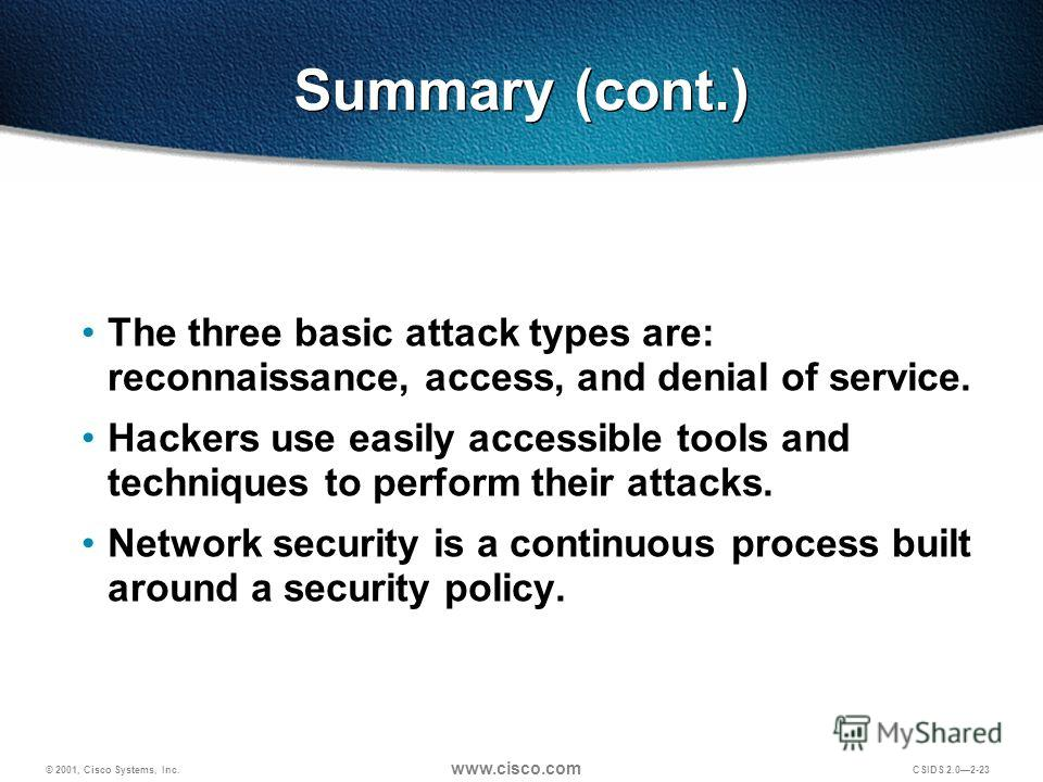 © 2001, Cisco Systems, Inc. www.cisco.com CSIDS 2.02-23 Summary (cont.) The three basic attack types are: reconnaissance, access, and denial of service. Hackers use easily accessible tools and techniques to perform their attacks. Network security is