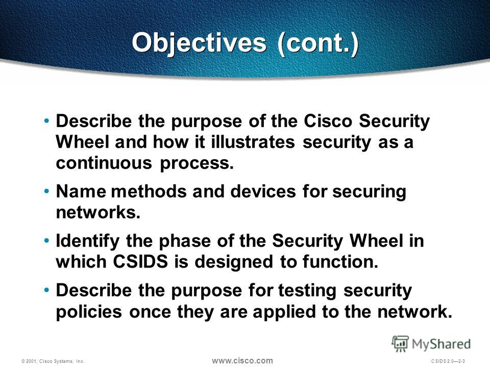 © 2001, Cisco Systems, Inc. www.cisco.com CSIDS 2.02-3 Objectives (cont.) Describe the purpose of the Cisco Security Wheel and how it illustrates security as a continuous process. Name methods and devices for securing networks. Identify the phase of