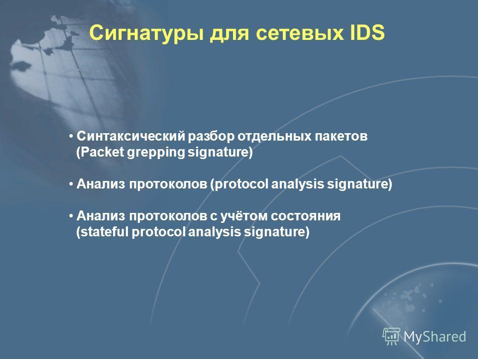 Анализ сигнатур Источник данных Список правил (сигнатур) Обнаружена атака
