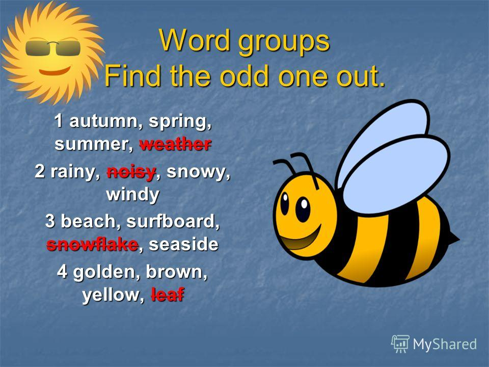 Word groups Find the odd one out. 1 autumn, spring, summer, weather 2 rainy, noisy, snowy, windy 3 beach, surfboard, snowflake, seaside 4 golden, brown, yellow, leaf