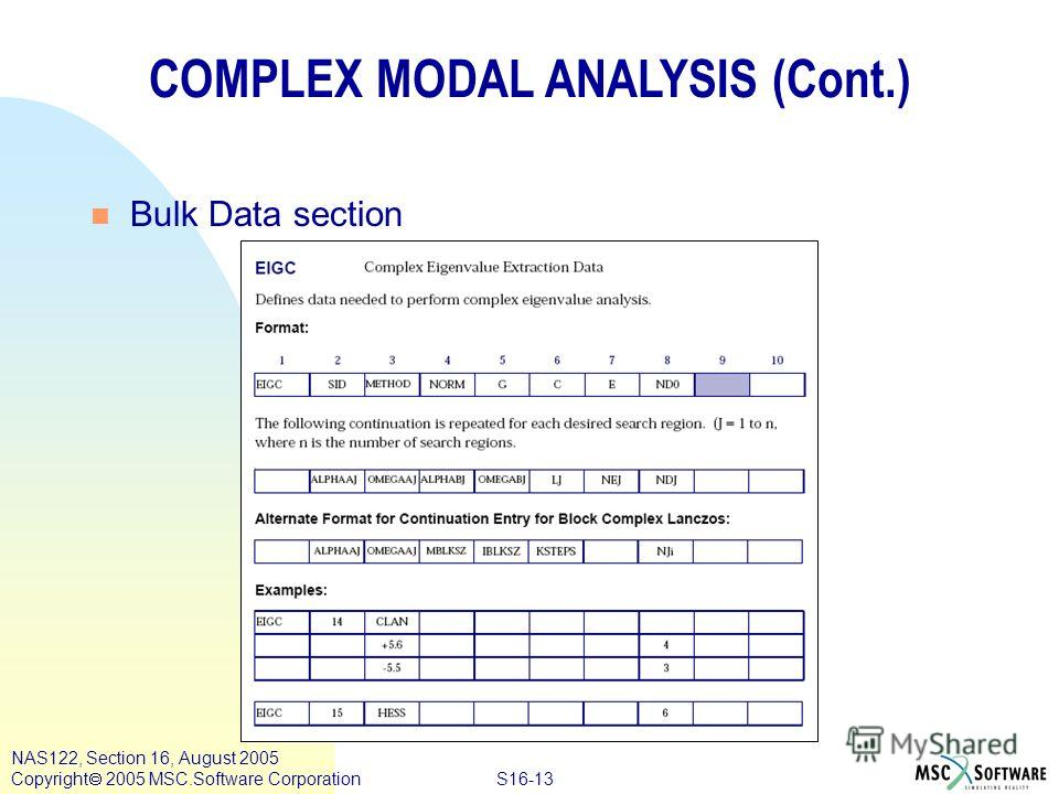 S16-13 NAS122, Section 16, August 2005 Copyright 2005 MSC.Software Corporation COMPLEX MODAL ANALYSIS (Cont.) n Bulk Data section