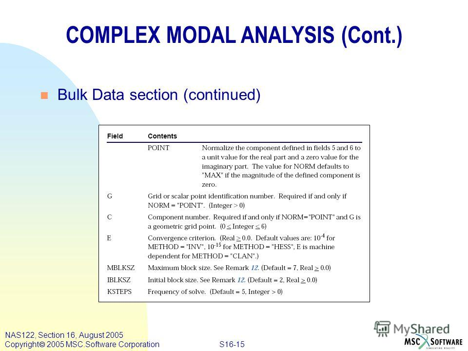 S16-15 NAS122, Section 16, August 2005 Copyright 2005 MSC.Software Corporation COMPLEX MODAL ANALYSIS (Cont.) n Bulk Data section (continued)