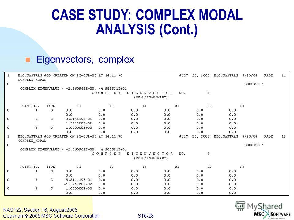 S16-28 NAS122, Section 16, August 2005 Copyright 2005 MSC.Software Corporation CASE STUDY: COMPLEX MODAL ANALYSIS (Cont.) n Eigenvectors, complex