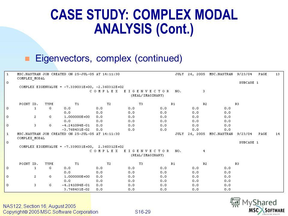 S16-29 NAS122, Section 16, August 2005 Copyright 2005 MSC.Software Corporation CASE STUDY: COMPLEX MODAL ANALYSIS (Cont.) n Eigenvectors, complex (continued)