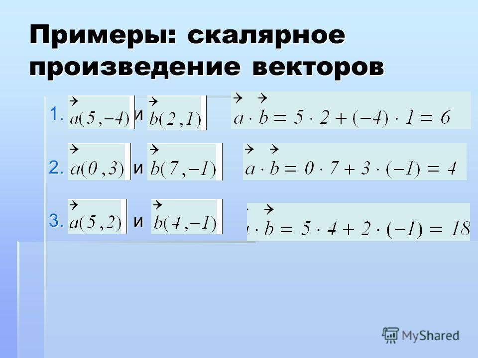 Примеры: скалярное произведение векторов 1. и 2. и 3. и